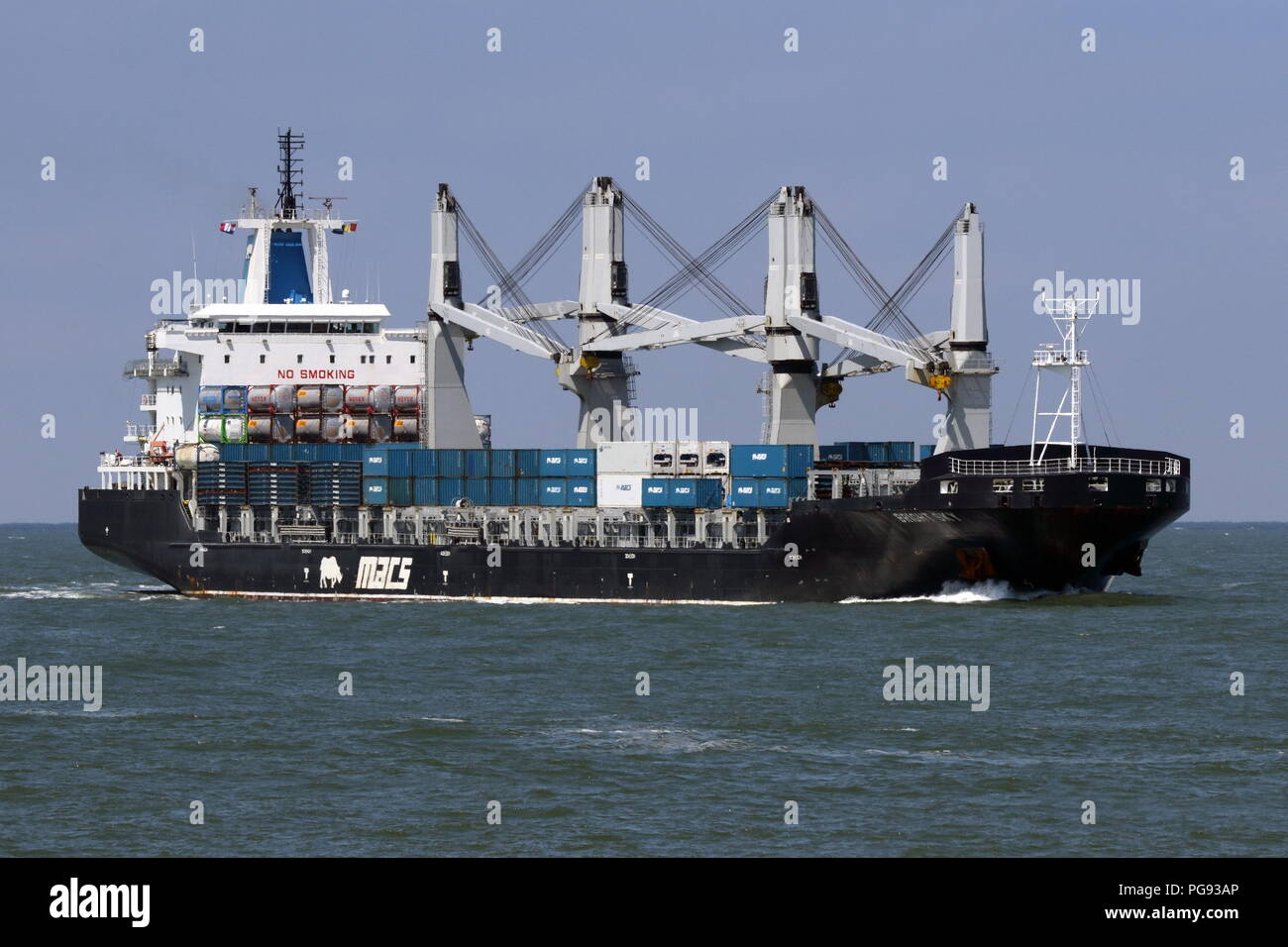 The general cargo ship Bright Sky reached on 13 July 2018 the port of Rotterdam. - Stock Image