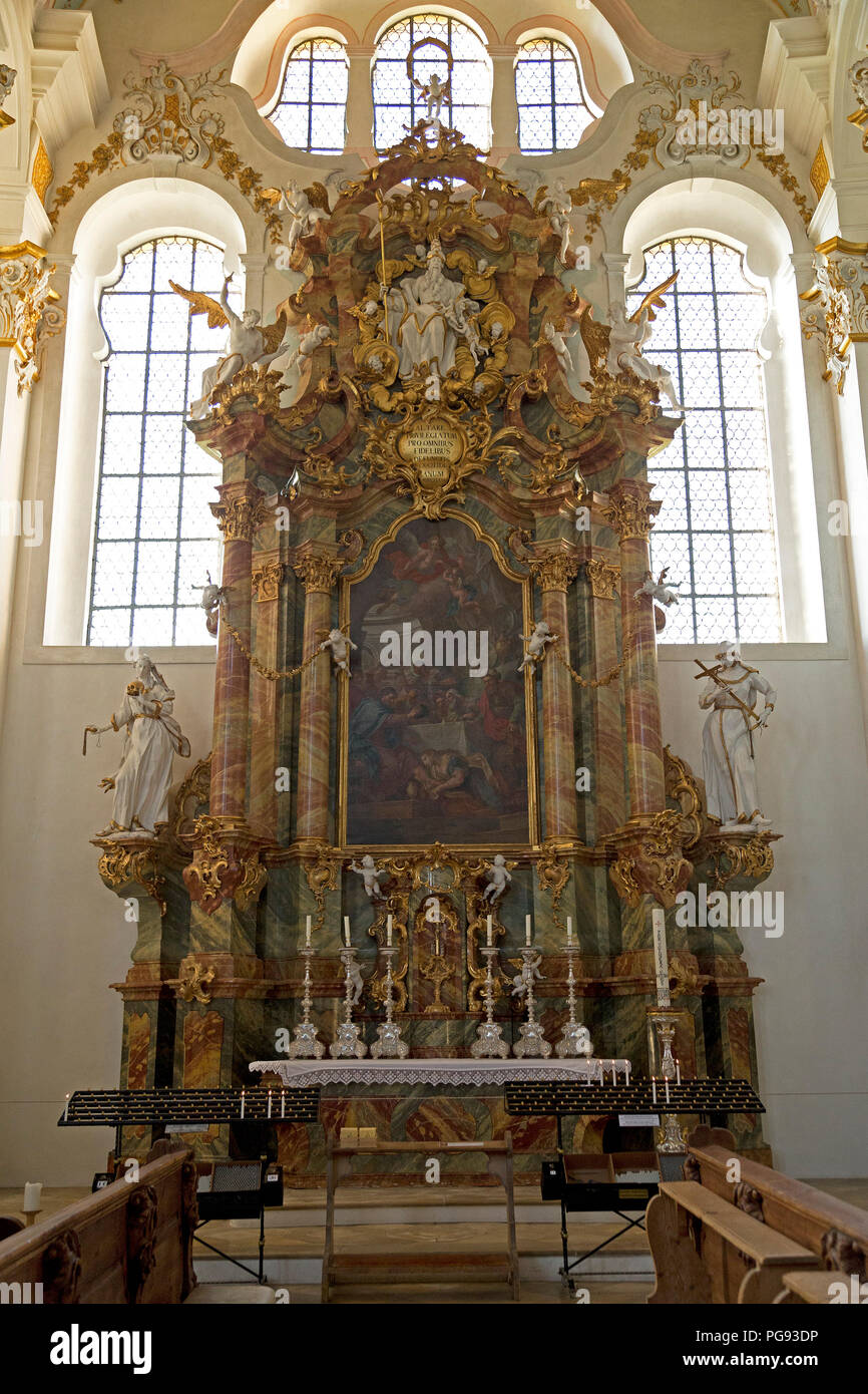 inside Wieskirche near Steingaden, Allgaeu, Bavaria, Germany - Stock Image