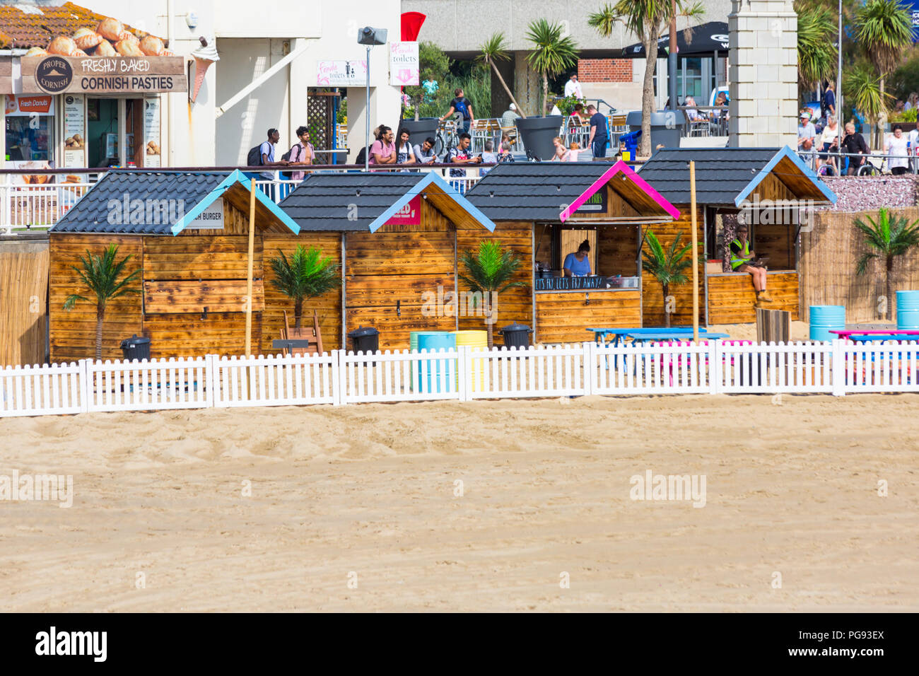 Setting up the Beach Bar on Bournemouth Beach ready for the Air Festival at Bournemouth, Dorset, UK in August - Stock Image