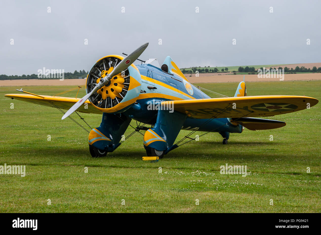 Boeing P-26 Peashooter was the first American all-metal production fighter plane and first pursuit monoplane to enter squadron service with the US - Stock Image