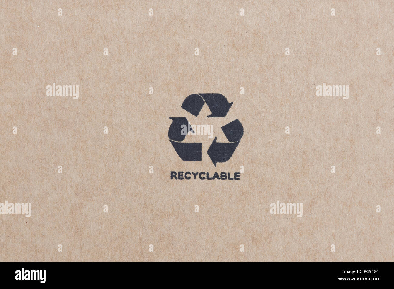 Printed Recyclable label on a cardboard box. Recyclable biodegradable cardboard box made with wood from a sustainable forest - Stock Image