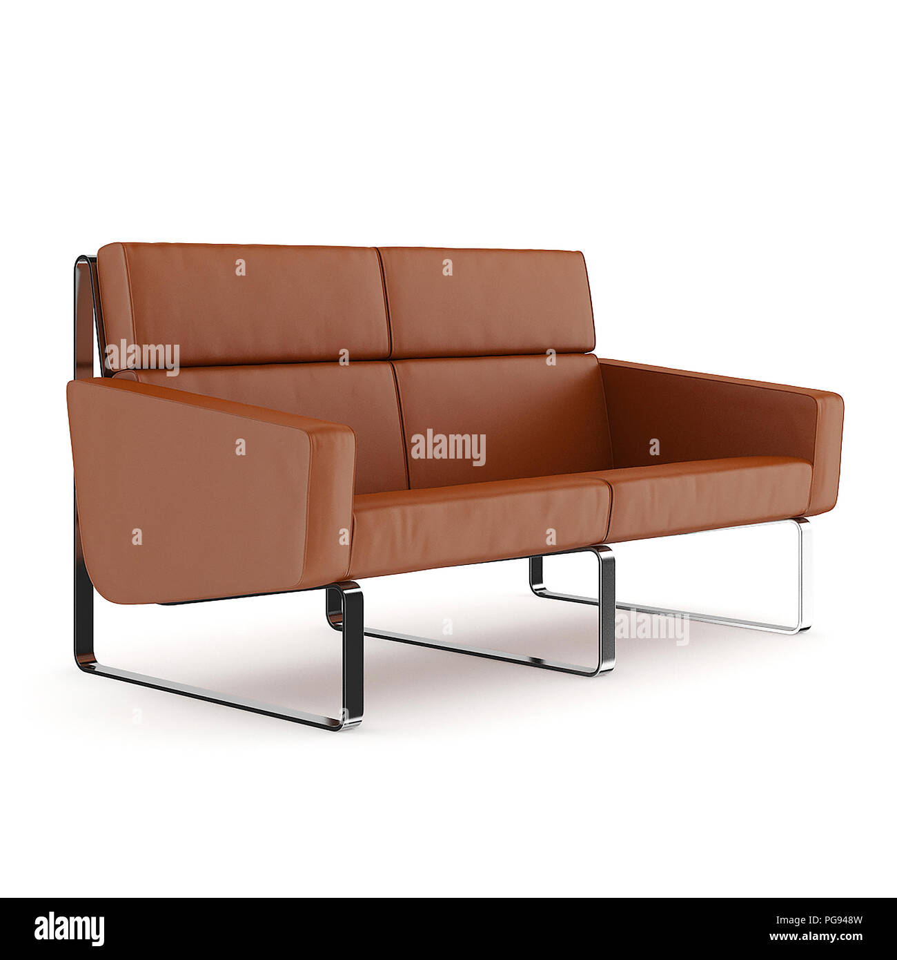 Modern Small Brown Leather Sofa On White Background 3d