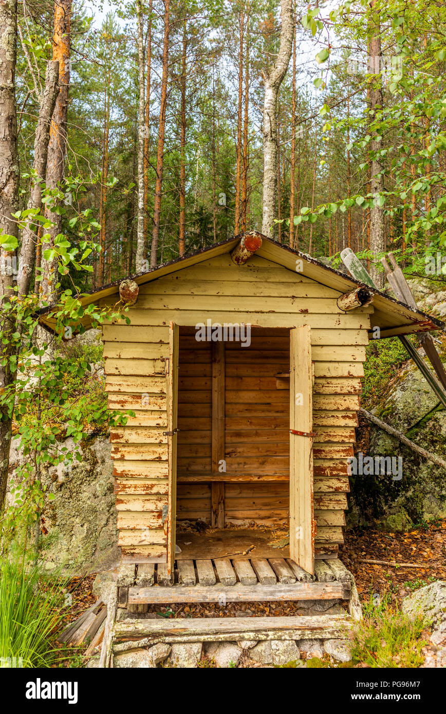 Deatil of an old wooden changing cabin on the shore of the Saimaa lake in Finland - 1 Stock Photo