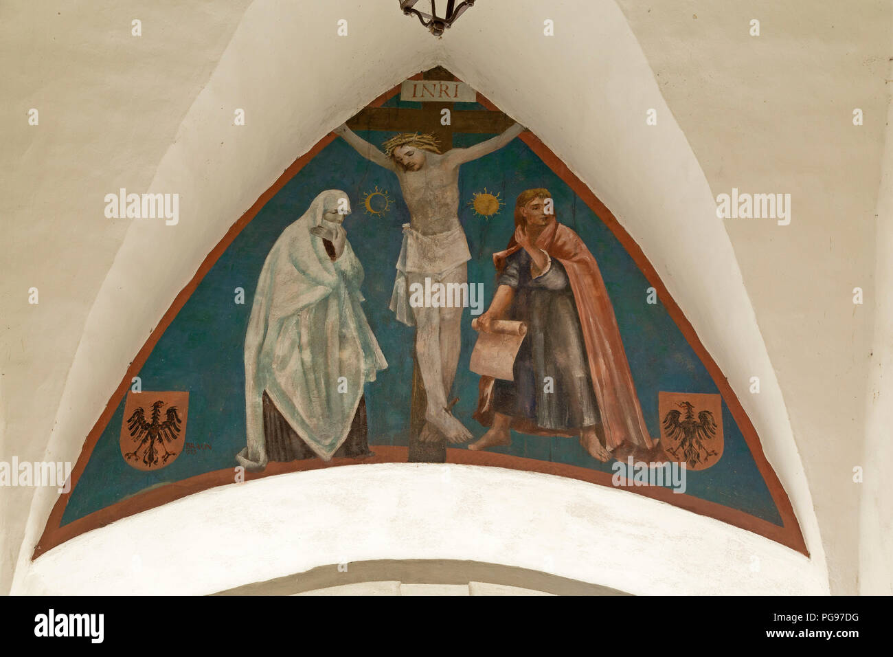 fresco, Pfaffenturm (parson´s tower), Wangen, Allgaeu, Baden-Wuerttemberg, Germany - Stock Image
