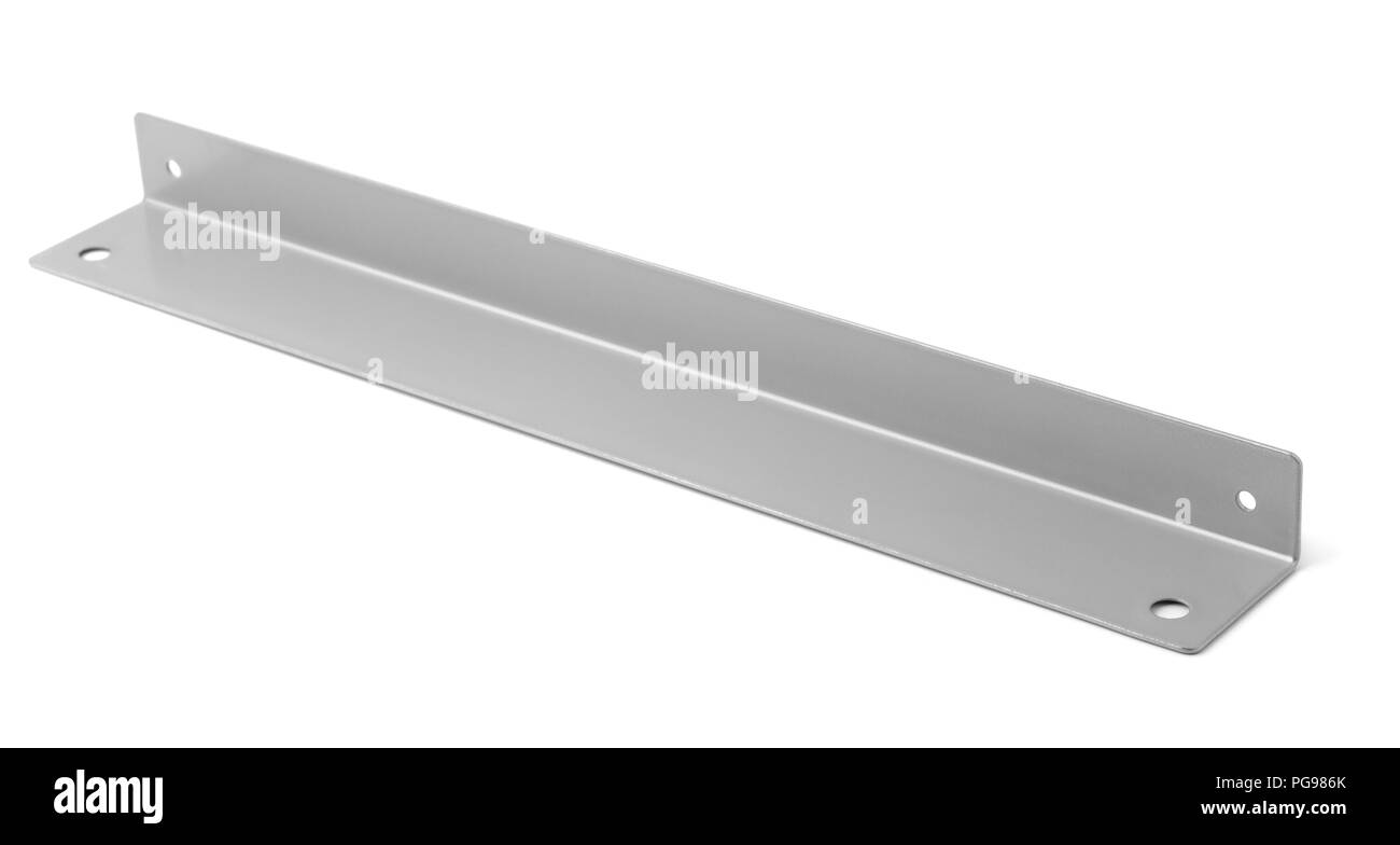 Single metal L profile isolated on white - Stock Image
