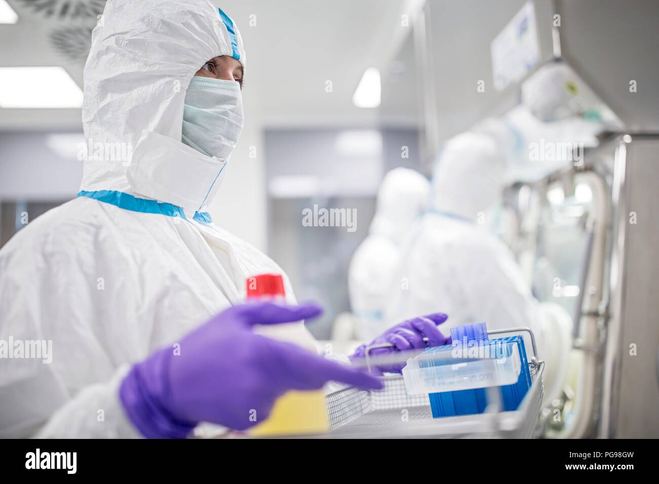 Technician carrying equipment in a laboratory that manufactures human tissues for implant. Such tissues include bone and skin grafts. - Stock Image