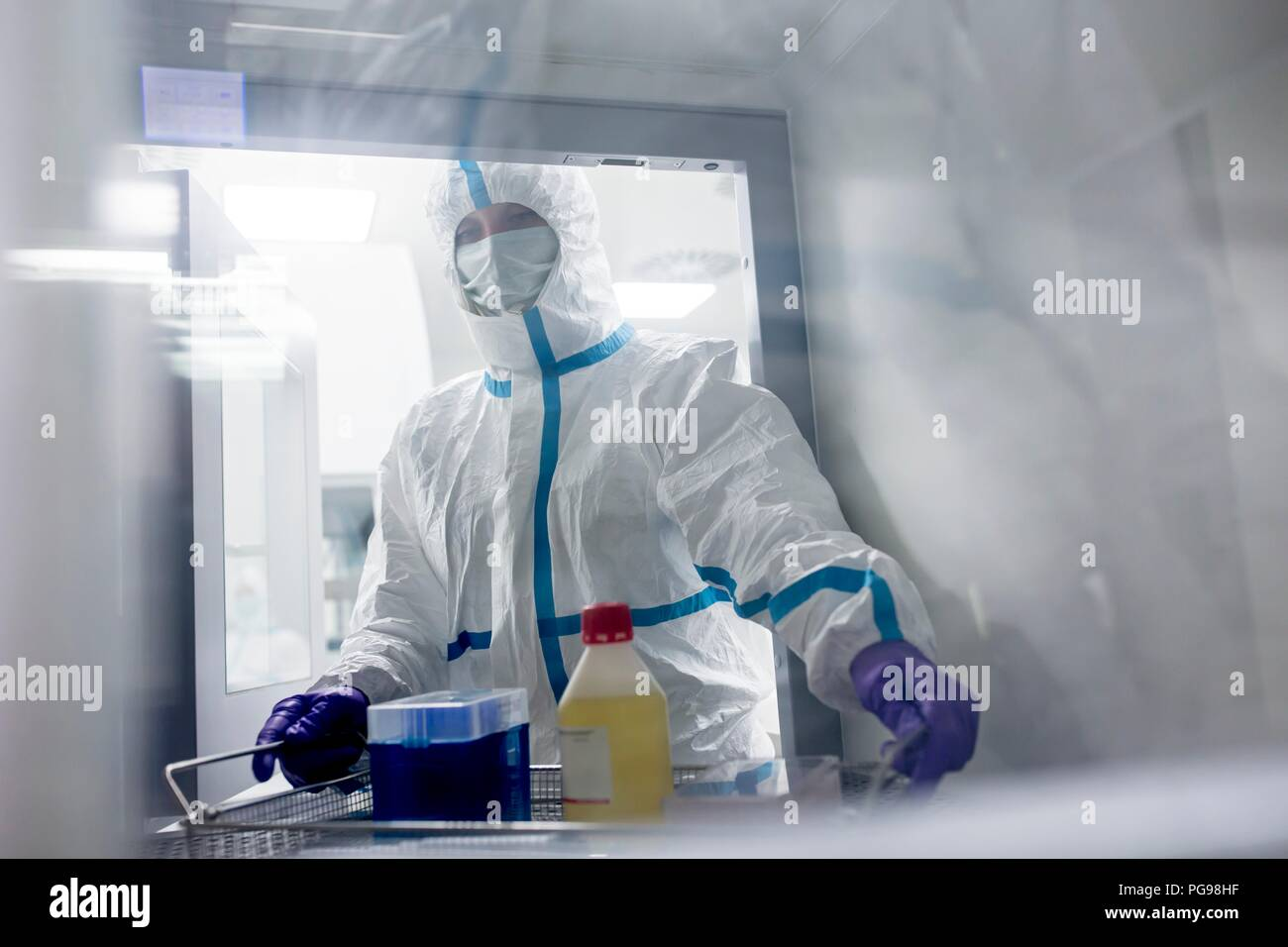 Technician collecting equipment from a transfer hatch in a sterile laboratory that manufactures human tissues for implants. Such implants include bone and skin grafts. - Stock Image