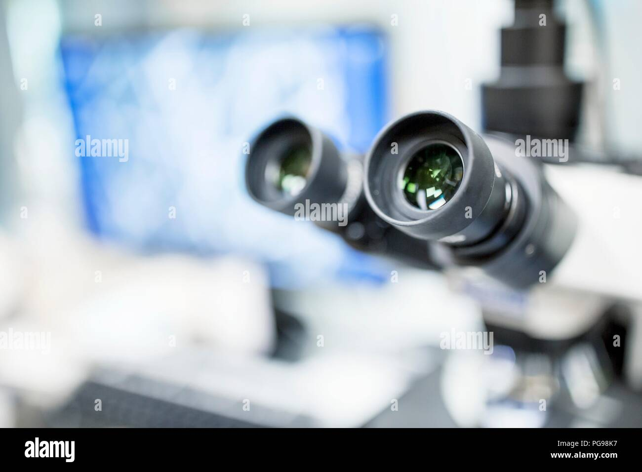 Close-up of a light microscope in a laboratory. - Stock Image