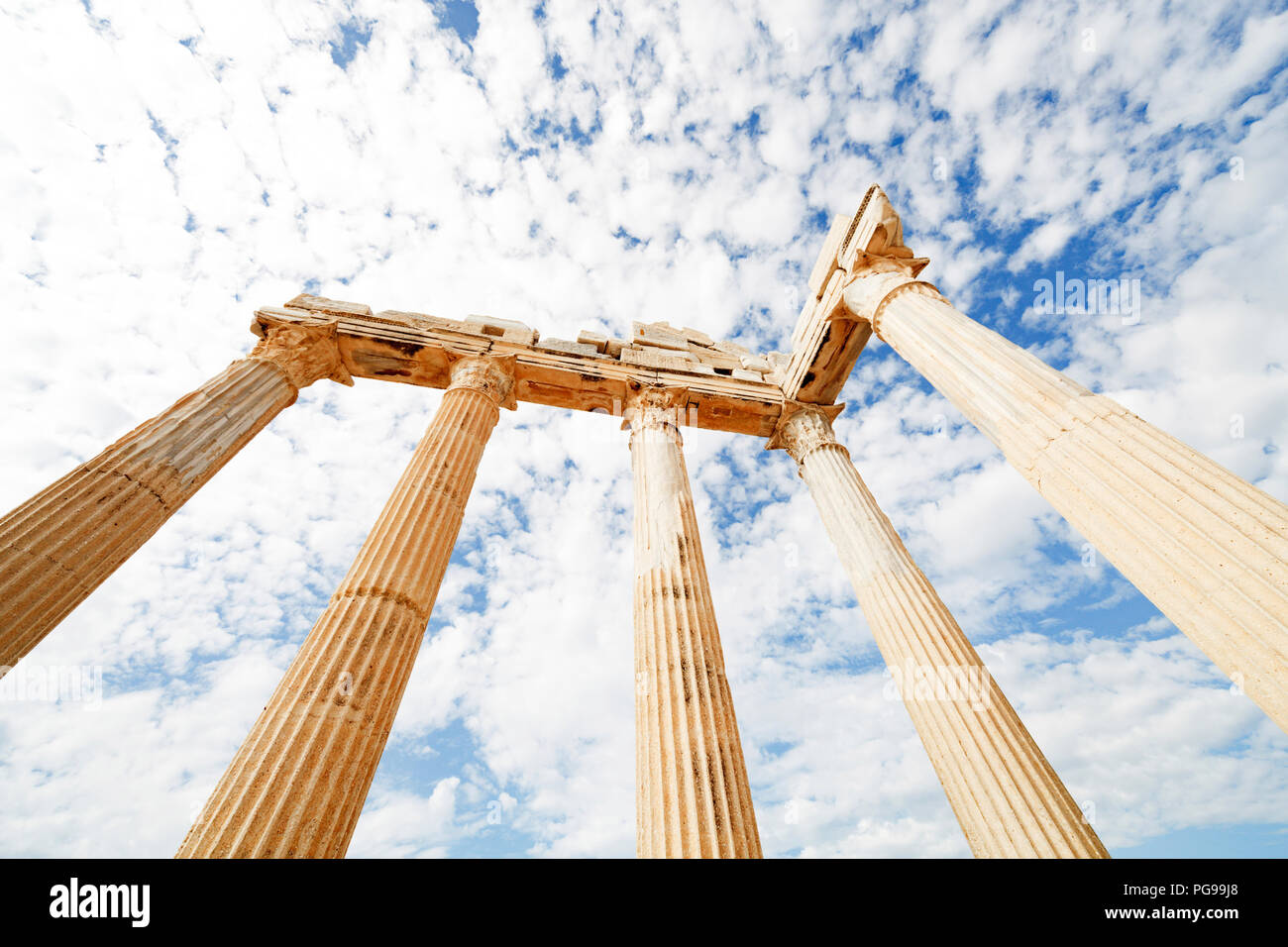 Columns of an ancient Greek temple. - Stock Image