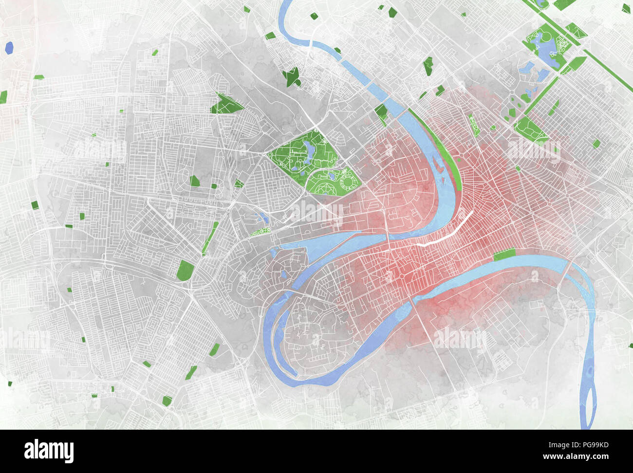 Map of Baghdad, satellite view, city, streets parks and ...
