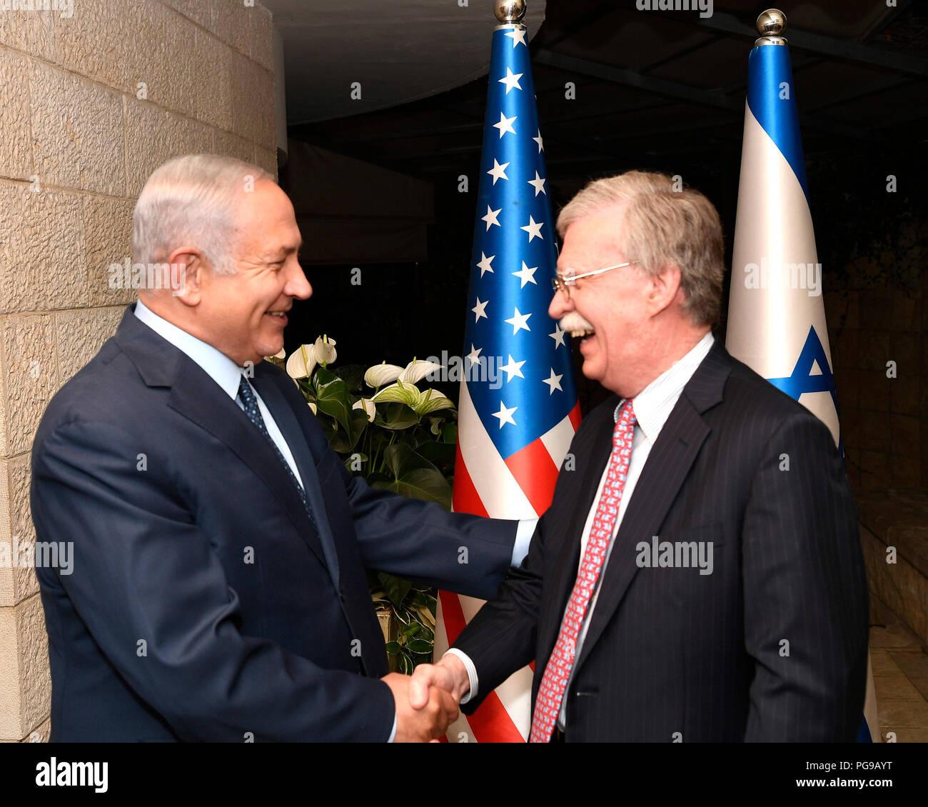 U.S. National Security Advisor, Ambassador John Bolton meets Israeli Prime Minister Benjamin Netanyahu for dinner at the Prime Minister's Residence, Jerusalem, August 19, 2018. - Stock Image