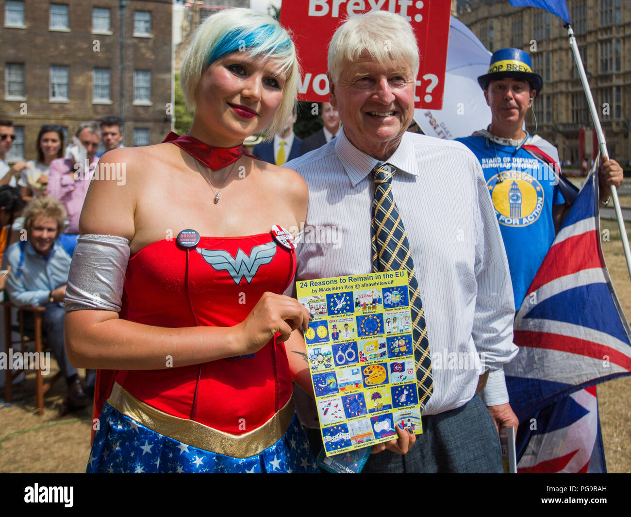 Last broadcast of the long running BBC Daily Politics show, College Green, Westminster, London UK  Featuring: Madeleina Kay, EU Supergirl, Stanley Johnson Where: London, England, United Kingdom When: 24 Jul 2018 Credit: Wheatley/WENN - Stock Image