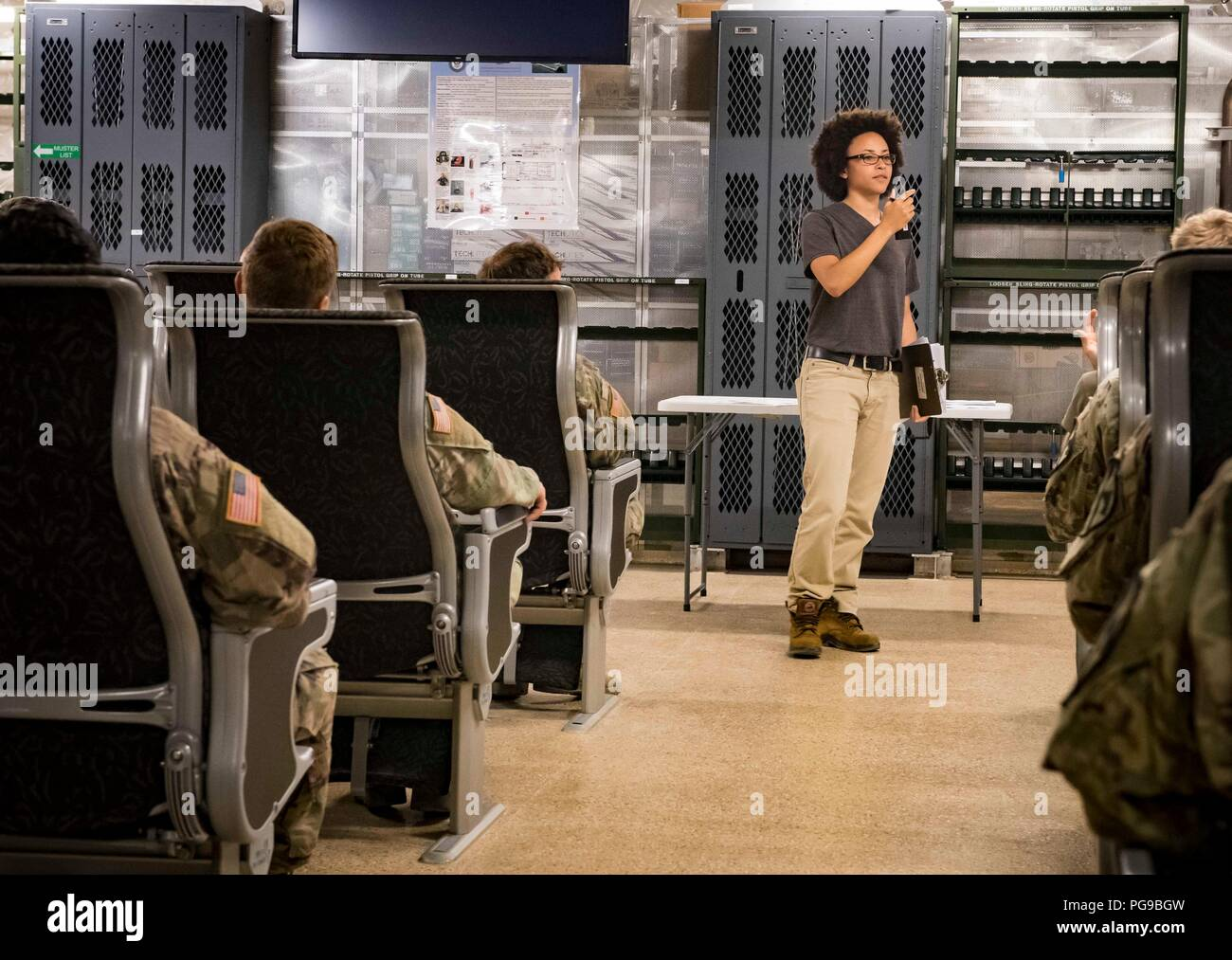 180818-N-RG482-385    POTI, Georgia (Aug. 18, 2018) Chief Mate Roshenda Josephs, a civil service mariner assigned to the Spearhead-class expeditionary fast transport ship USNS Carson City (T-EPF 7), provides a safety brief to U.S. Army Soldiers assigned Bravo Company, 2nd Battalion, 5th Cavalry Regiment, 1st Armored Brigade Combat Team, 1st Cavalry Division Aug. 18, 2018. Carson City is the seventh of nine expeditionary fast transport ships in Military Sealift Command's inventory with a primary mission of providing rapid transport of military equipment and personnel in theater via its 20,000 s Stock Photo
