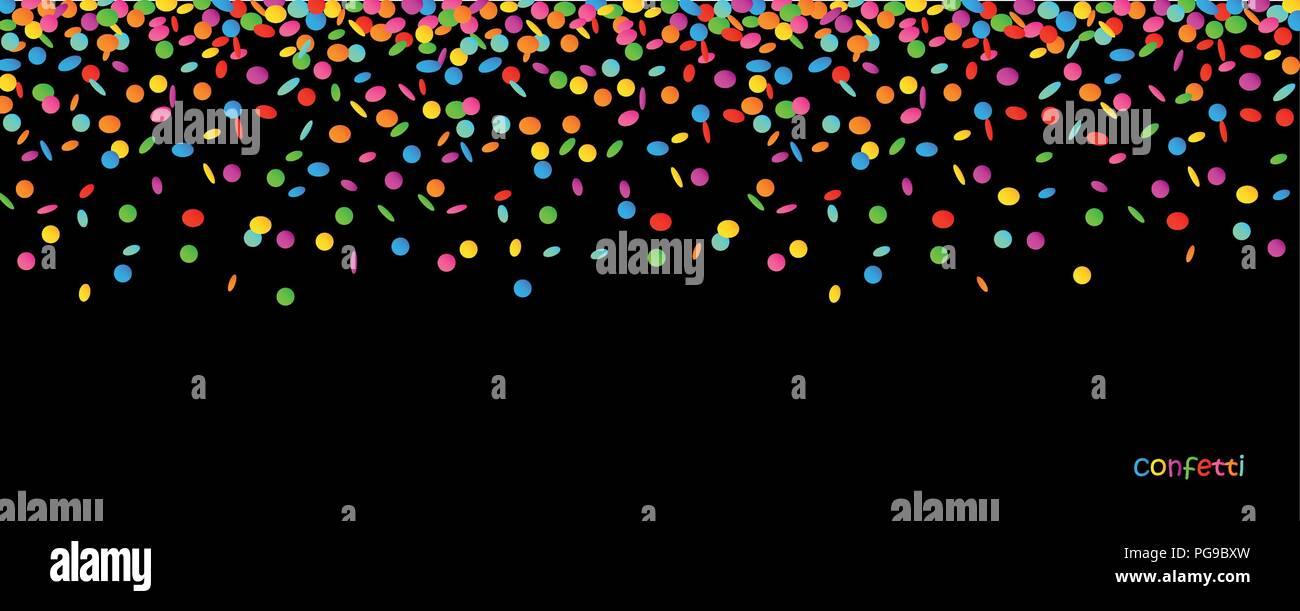 colored falling confetti on black background vector