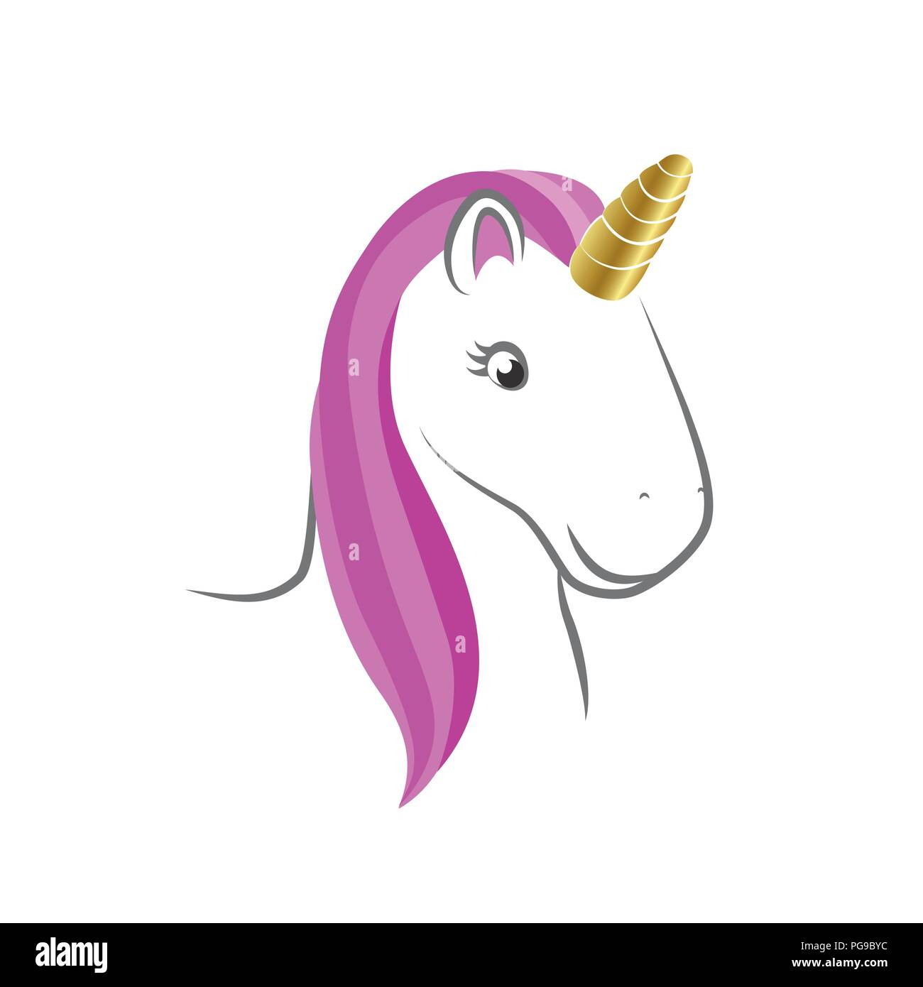 cute unicorn head pink color vector illustration EPS10 - Stock Vector