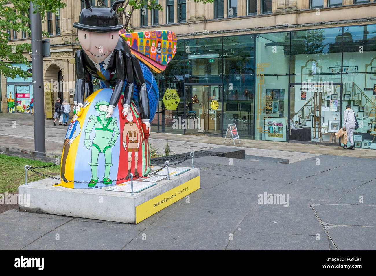Bee in the city of Manchester - Stock Image