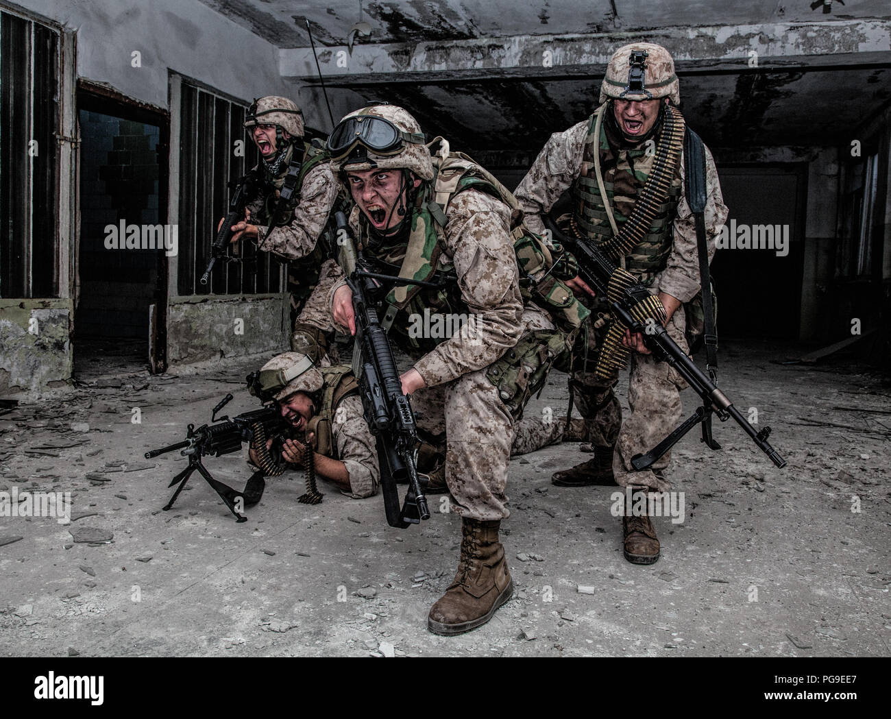 marine corps soldier fighters breakthrough with firefight