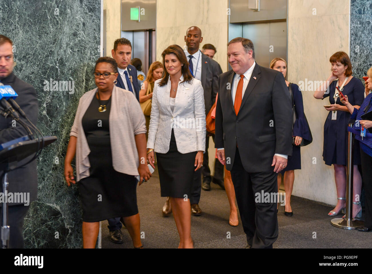 U.S. Secretary of State Michael R. Pompeo  and U.S. Permanent Representative to the United Nations Nikki Haley prepare to address the press in New York, New York on July 20, 2018. - Stock Image