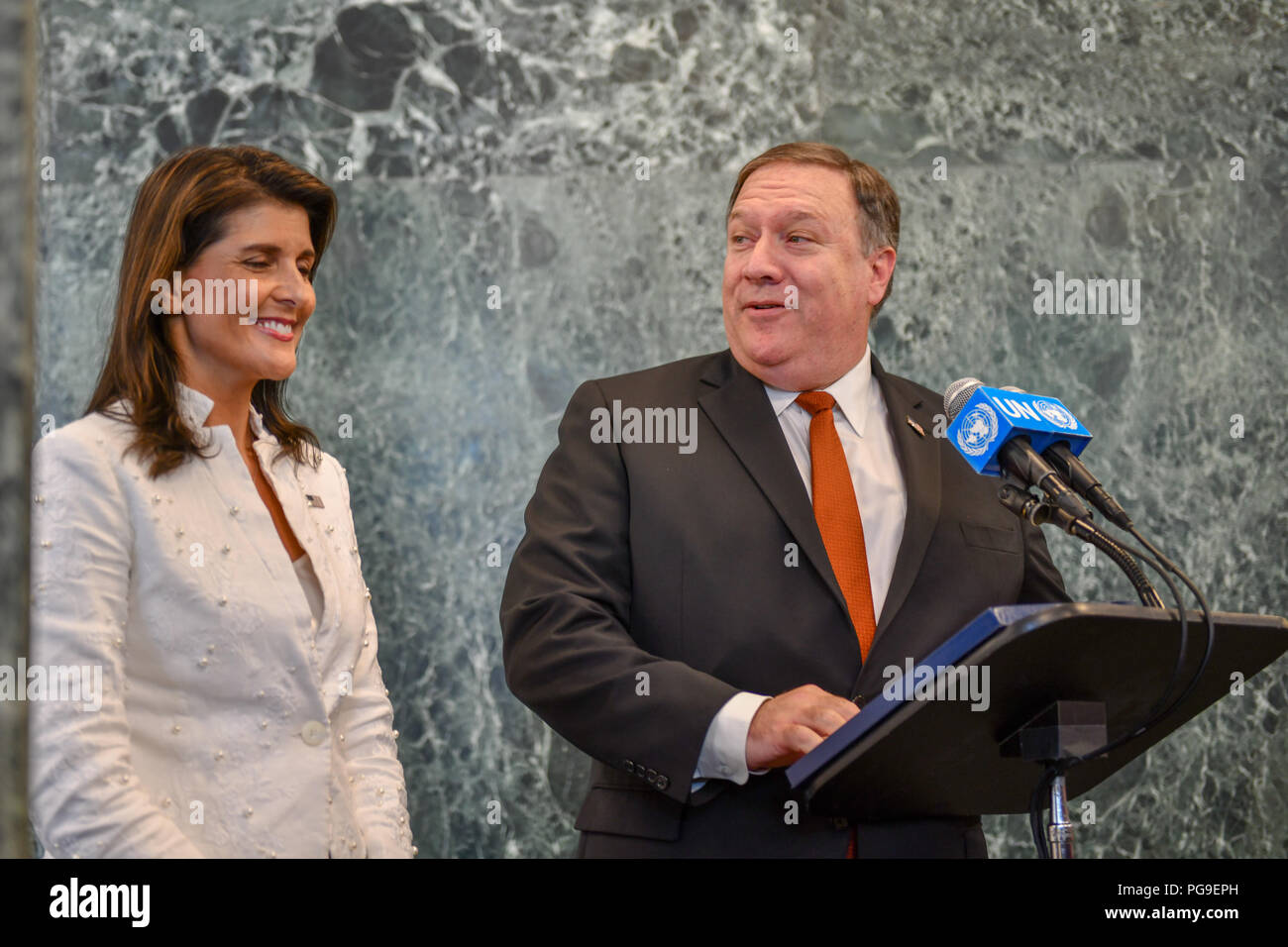 U.S. Secretary of State Michael R. Pompeo  and U.S. Permanent Representative to the United Nations Nikki Haley hold a joint press availability in New York, New York on July 20, 2018. - Stock Image
