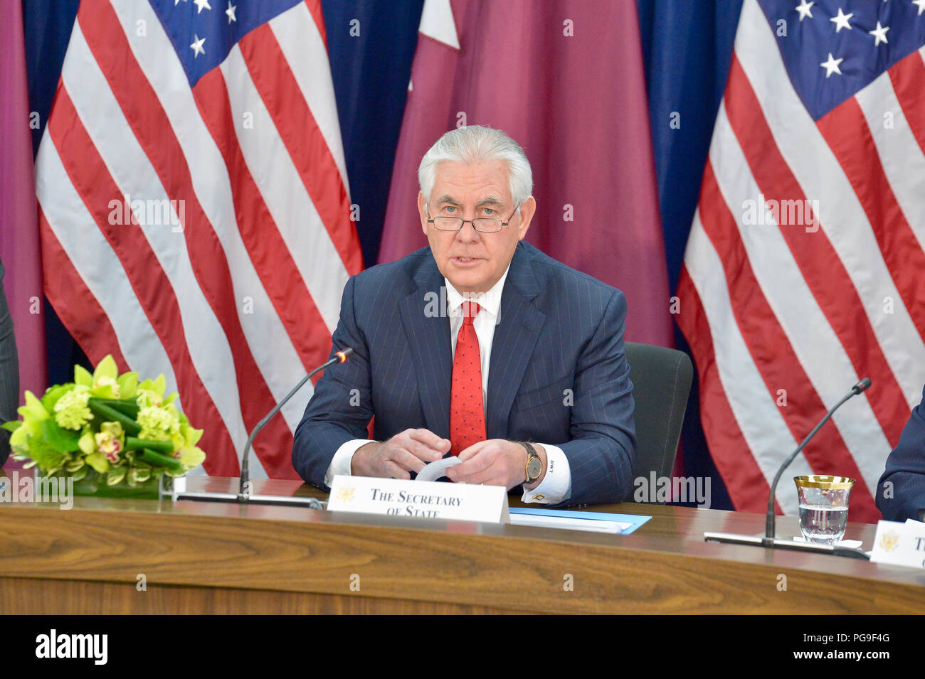 U.S. Secretary of State Rex Tillerson delivers remarks at the High-Level Opening Session of the Inaugural U.S.-Qatar Strategic Dialogue at the U.S. Department of State in Washington, D.C. on January 30, 2018. - Stock Image
