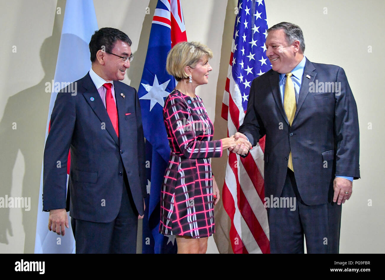 Secretary of State Michael R. Pompeo joins a Trilateral Strategic Dialogue Australian Minister for Foreign Affairs Bishop and Japanese FM Kono at ASEAN in Singapore, Singapore, August 4, 2018. - Stock Image