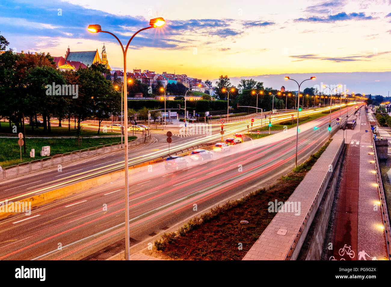 Warsaw at the Evening Time with a Beautiful Sunset - Stock Image