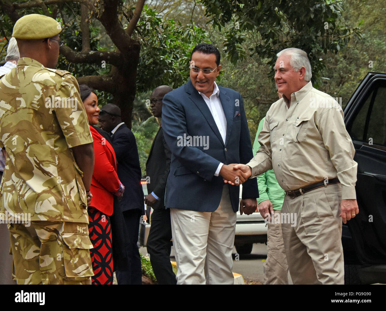 U.S. Secretary of State Rex Tillerson is welcomed to the Kenya Wildlife  Service headquarters by Kenya's