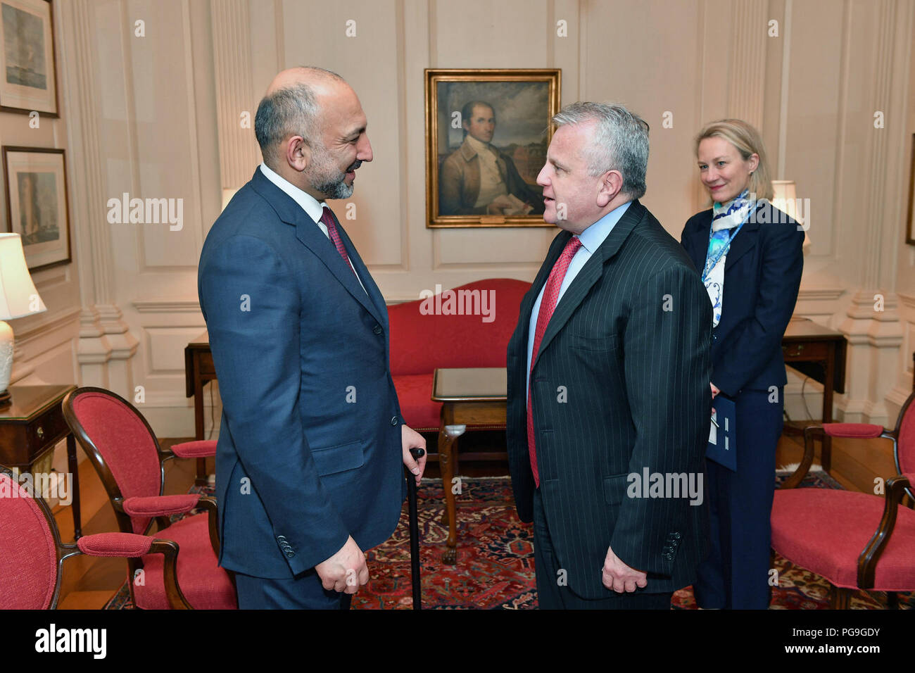 Deputy Secretary of State John Sullivan, joined by Principal Deputy Assistant Secretary of State for South and Central Asian Affairs Alice G. Wells, meets with Afghan National Security Advisor Mohammad Hanif Atmar, at the Department of State, March 23, 2018. - Stock Image