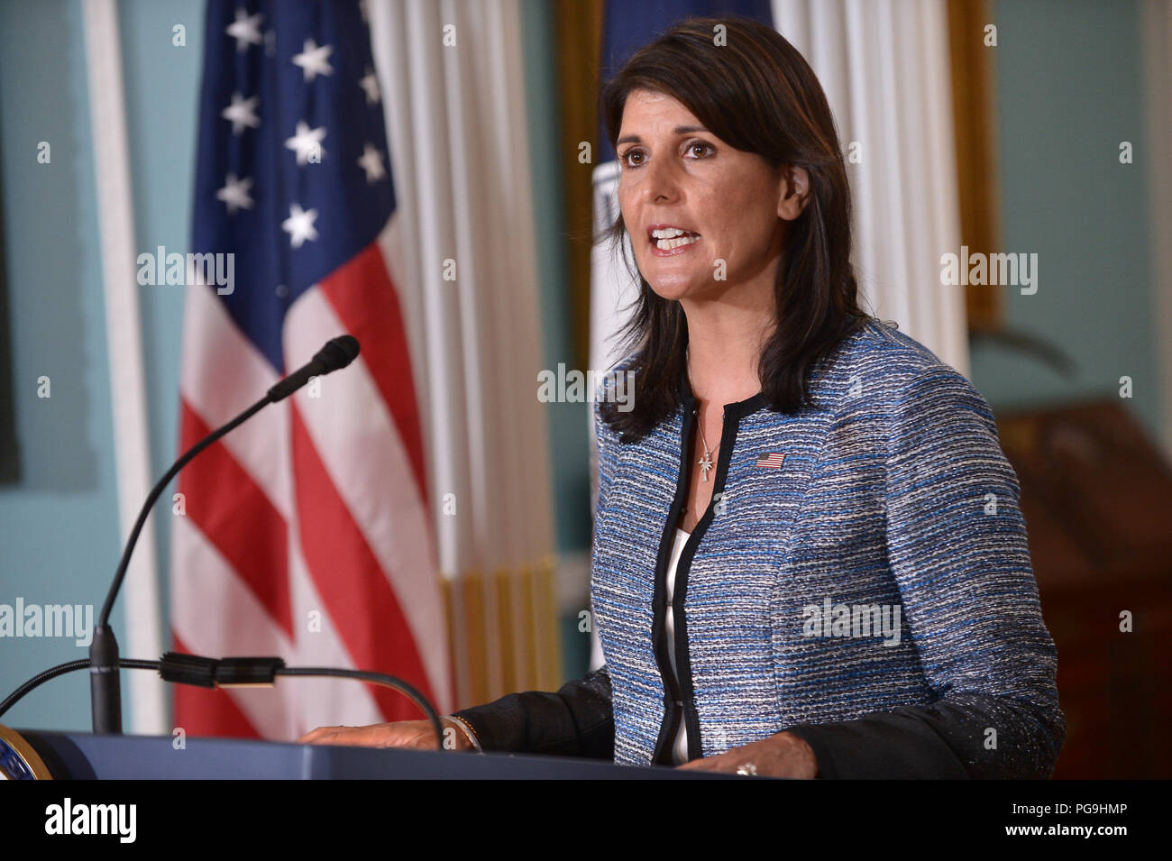 U.S. Secretary of State Mike Pompeo and U.S. Permanent Representative to the United Nations Nikki Haley deliver remarks to the press on the UN Human Rights Council, at the U.S. Department of State in Washington, D.C., on June 19, 2018. - Stock Image