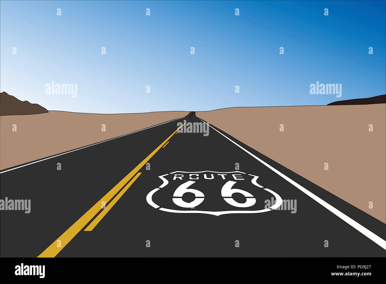 Route 66 pavement sign in the vast California Mojave desert.  Vector illustration. Stock Vector