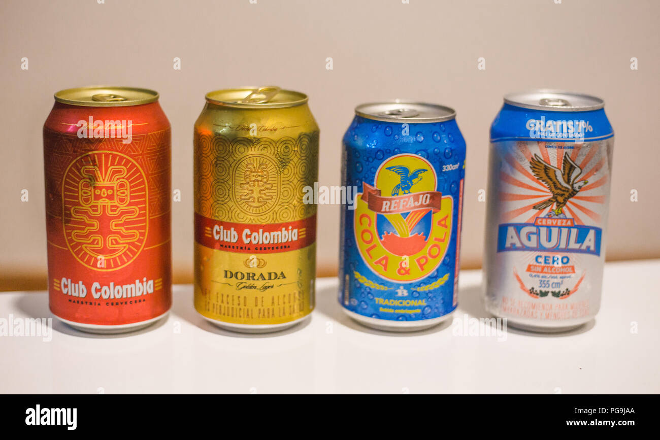 Cans Of Typical Drinks Of Colombia Club Colombia Beer Club