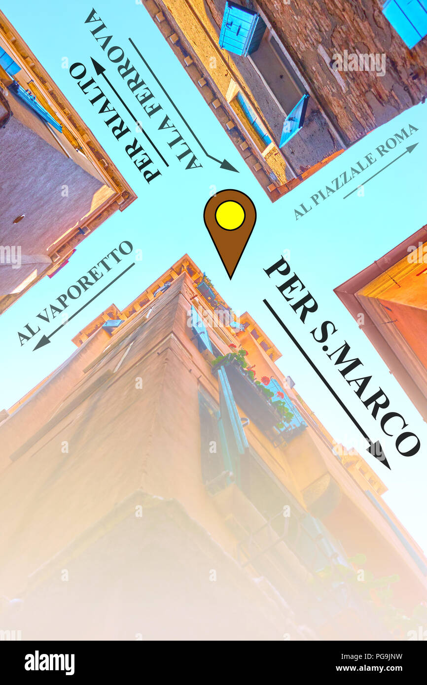 Venice map - street crossing upside down and traditional venetian arrows to touristic destination. Space for text - Stock Image