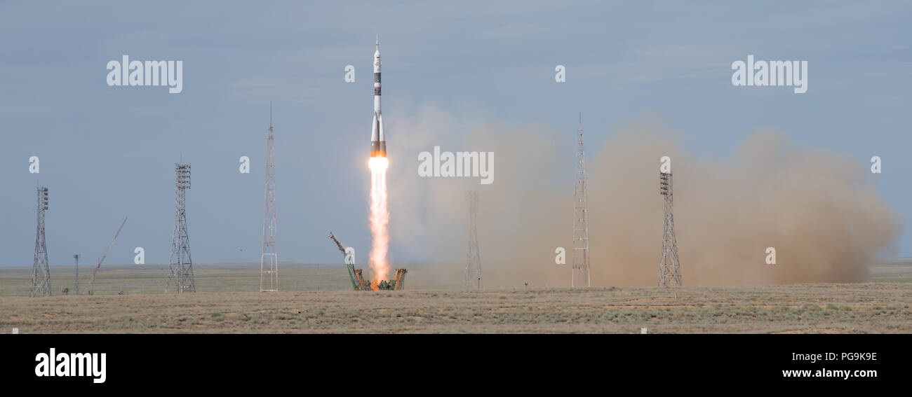 The Soyuz MS-09 rocket is launched with Expedition 56 Soyuz Commander Sergey Prokopyev of Roscosmos, flight engineer Serena Auñón-Chancellor of NASA, and flight engineer Alexander Gerst of ESA (European Space Agency), Wednesday, June 6, 2018 at the Baikonur Cosmodrome in Kazakhstan. Prokopyev, Auñón-Chancellor, and Gerst will spend the next six months living and working aboard the International Space Station. - Stock Image