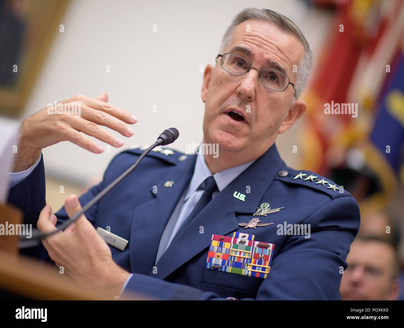 Commander, U.S. Strategic Command, General John Hyten testifies before the House Subcommittee on Strategic Forces during a hearing on Space Situational Awareness: Whole of Government Perspectives on Roles and Responsibilities, Friday, June 22, 2018 at the Rayburn House Office Building in Washington. Stock Photo