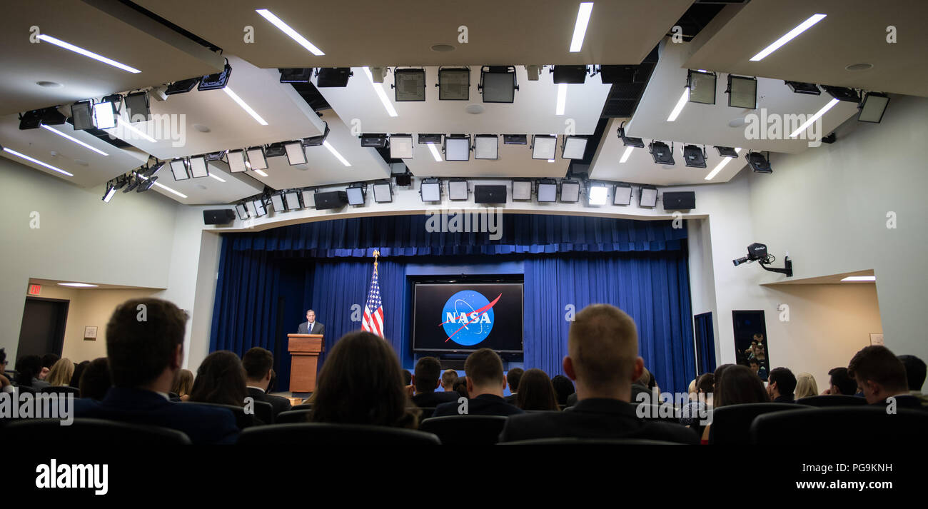 """NASA Administrator Jim Bridenstine speaks at the """"Face to Face with Our Future: A Day with Young Leaders"""" event, Wednesday, June 27, 2018 at the Eisenhower Executive Office Building in Washington, DC. - Stock Image"""