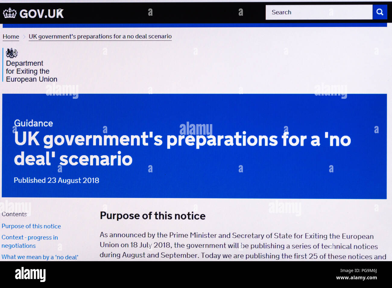 Gov.uk website screenshot displaying information about the UK government's preparations for a no deal Brexit scenario, August 2018 - Stock Image