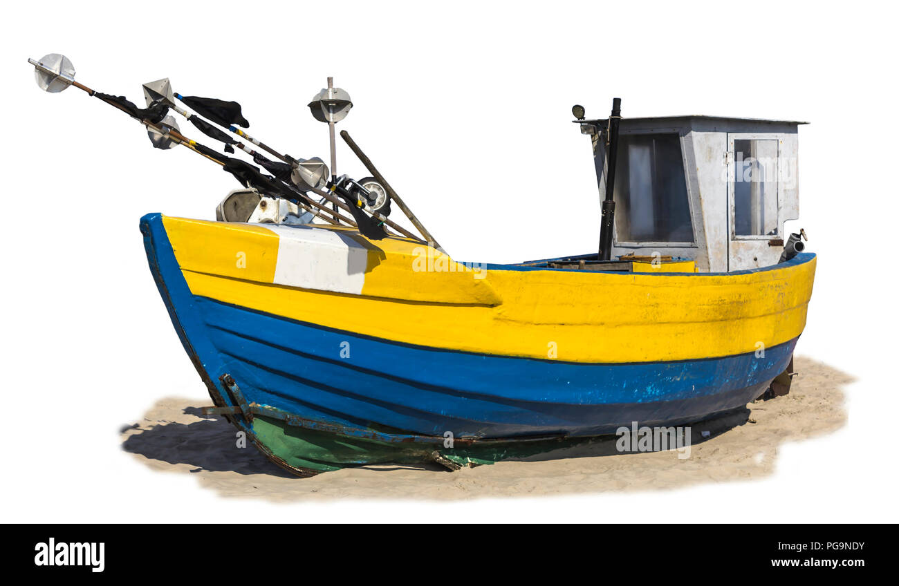 Baltic Sea .Old wooden fishing launch dragged ashore. Isolated photo. Site about the sea, fishing industry, fishermen, shipbuilding , timber ,romance. - Stock Image