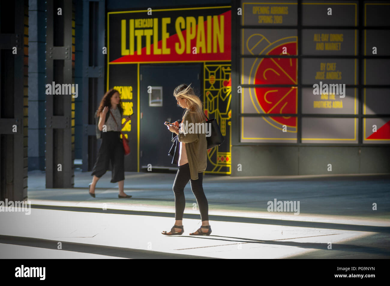 A distracted millennial, engrossed in her smartphone, walks outside10 Hudson Yards in New York on Thursday, August 23, 2018.  (© Richard B. Levine) - Stock Image