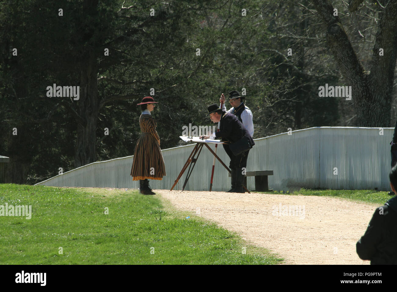 Cartographers surveying the land during the Civil War. Historical reenactment at Appomattox Court House, Virginia. - Stock Image