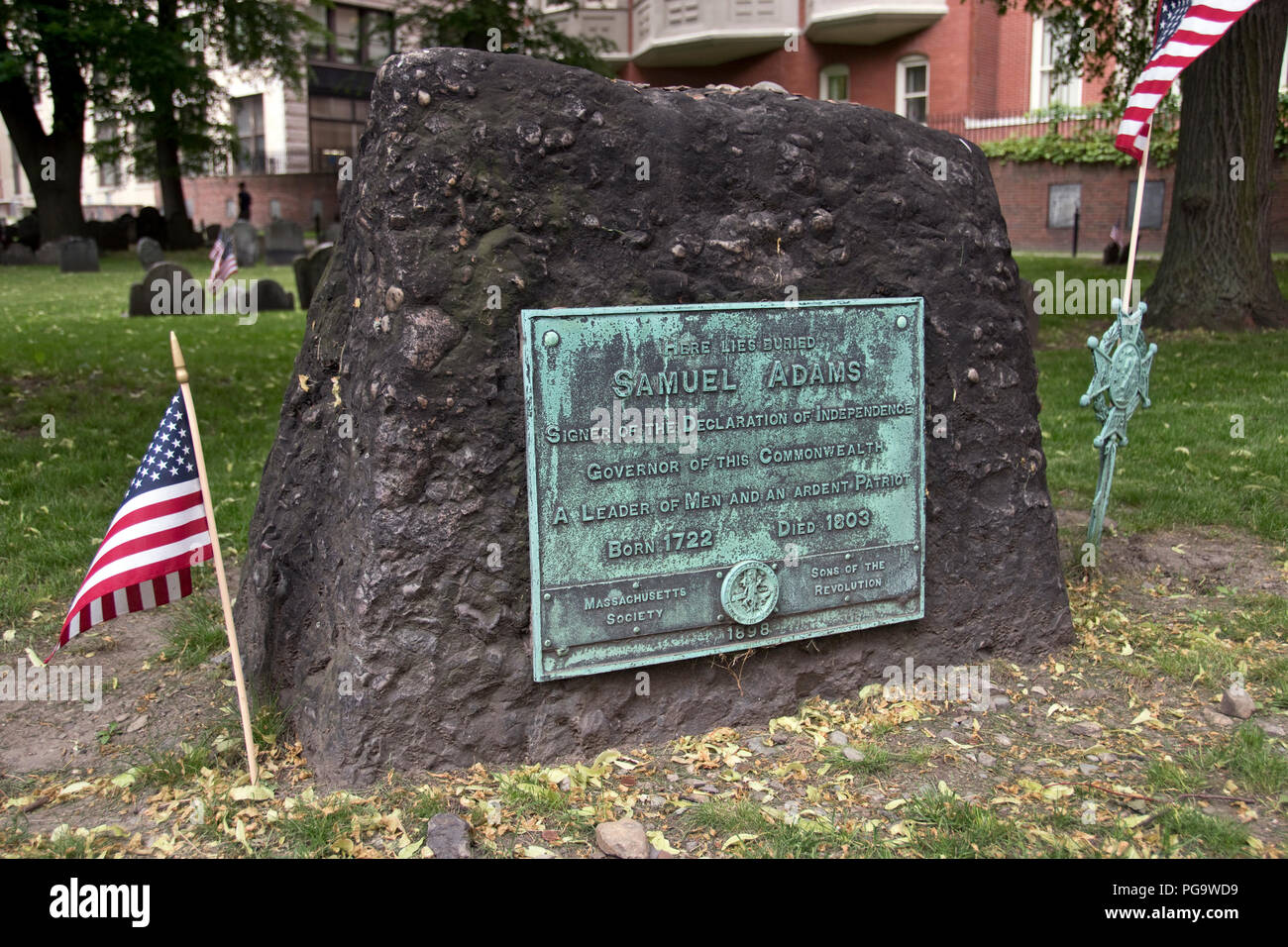 American patriot Sam Adams' grave in the Granary Burying Ground, Boston, Massachusetts. - Stock Image