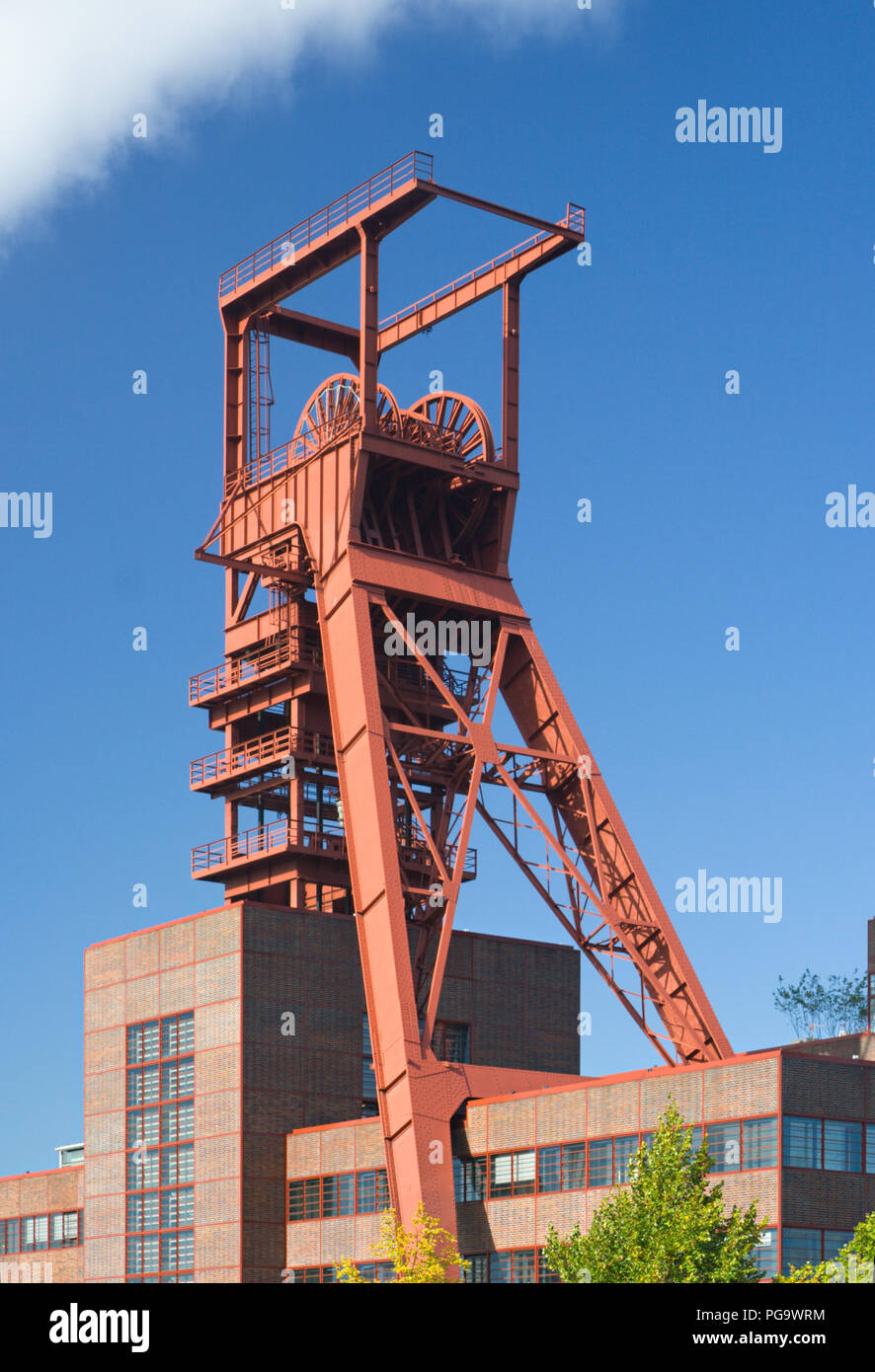 The tower of an old coal mine in Gelsenkirchen, Germany. - Stock Image