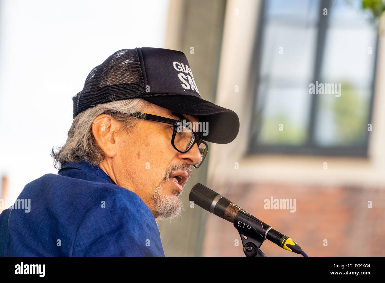 American singer-songwriter Howe Gelb with Kira Skov and Gustaf Ljunggren in Copenhagen Jazz Festival on Balders Plads (Balder's Square), Copenhagen - Stock Image