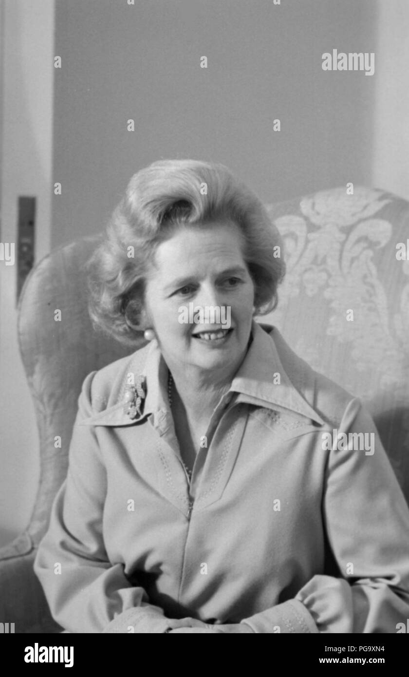 Margaret Hilda Thatcher, Baroness Thatcher, LG, OM, DStJ, PC, FRS, HonFRSC (née Roberts; 13 October 1925 – 8 April 2013) was a British stateswoman who served as Prime Minister of the United Kingdom from 1979 to 1990 and Leader of the Conservative Party from 1975 to 1990. She was the longest-serving British prime minister of the 20th century and the first woman to hold that office. A Soviet journalist dubbed her the Iron Lady, a nickname that became associated with her uncompromising politics and leadership style. As Prime Minister, she implemented policies known as Thatcherism. Stock Photo