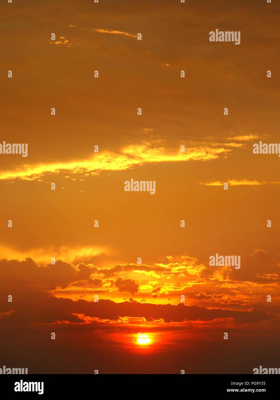 beautiful sunrise and cloudy sky - Stock Image
