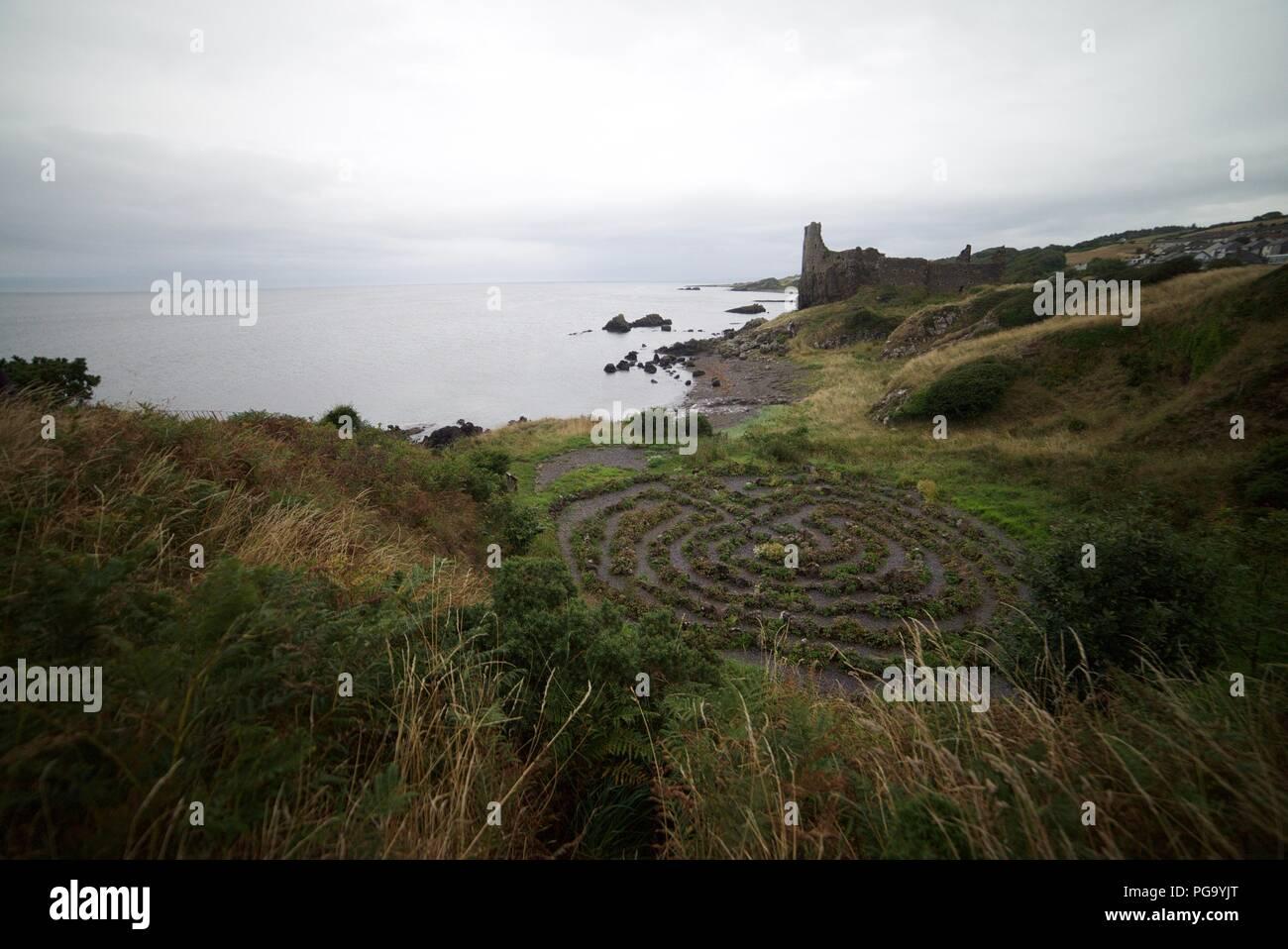 The maze next to Dunure Castle, Carrick Coast, Ayrshire. - Stock Image