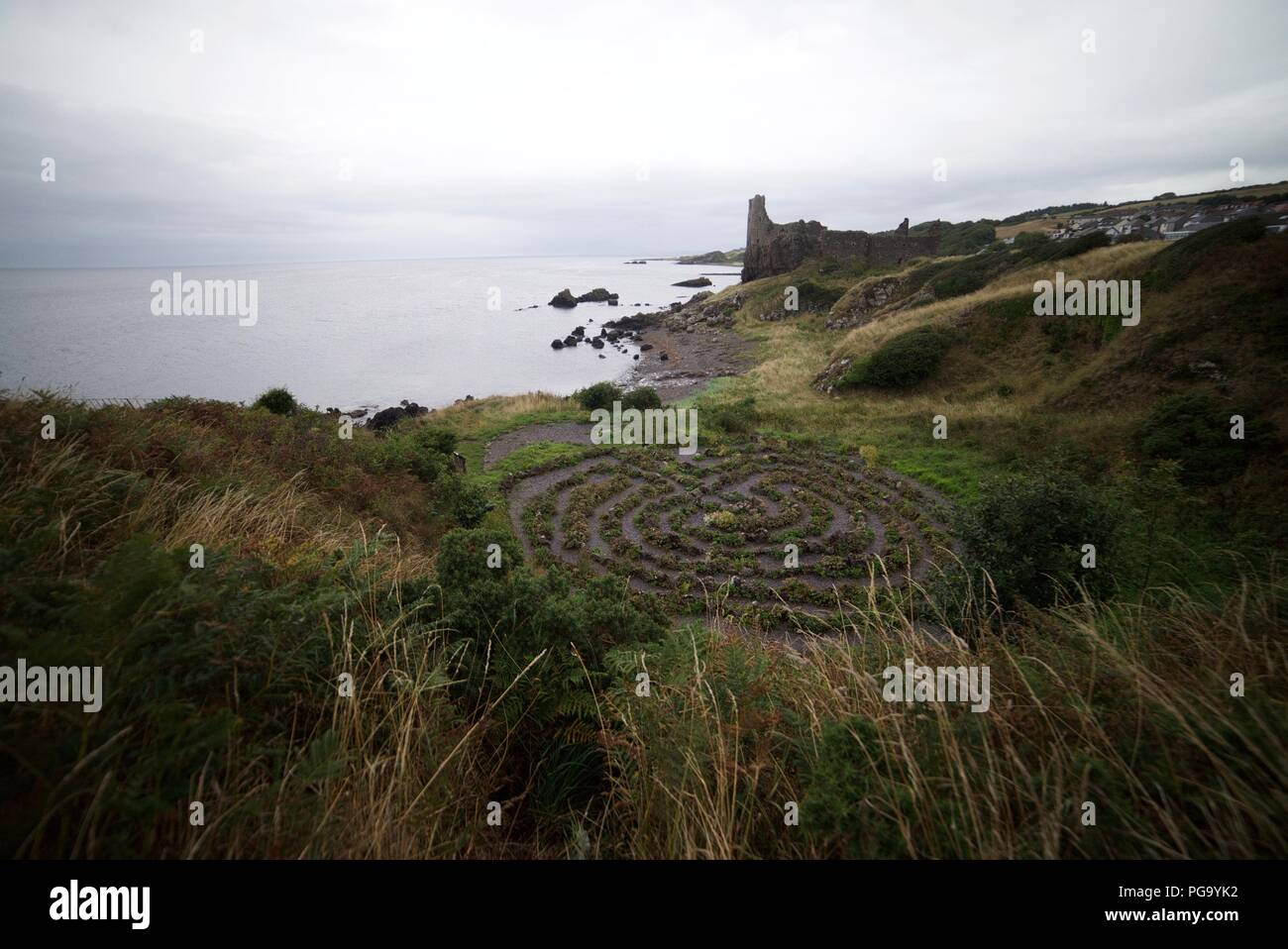 The maze next to Dunure Castle, Carrick Coast, Ayrshire. - Stock Image