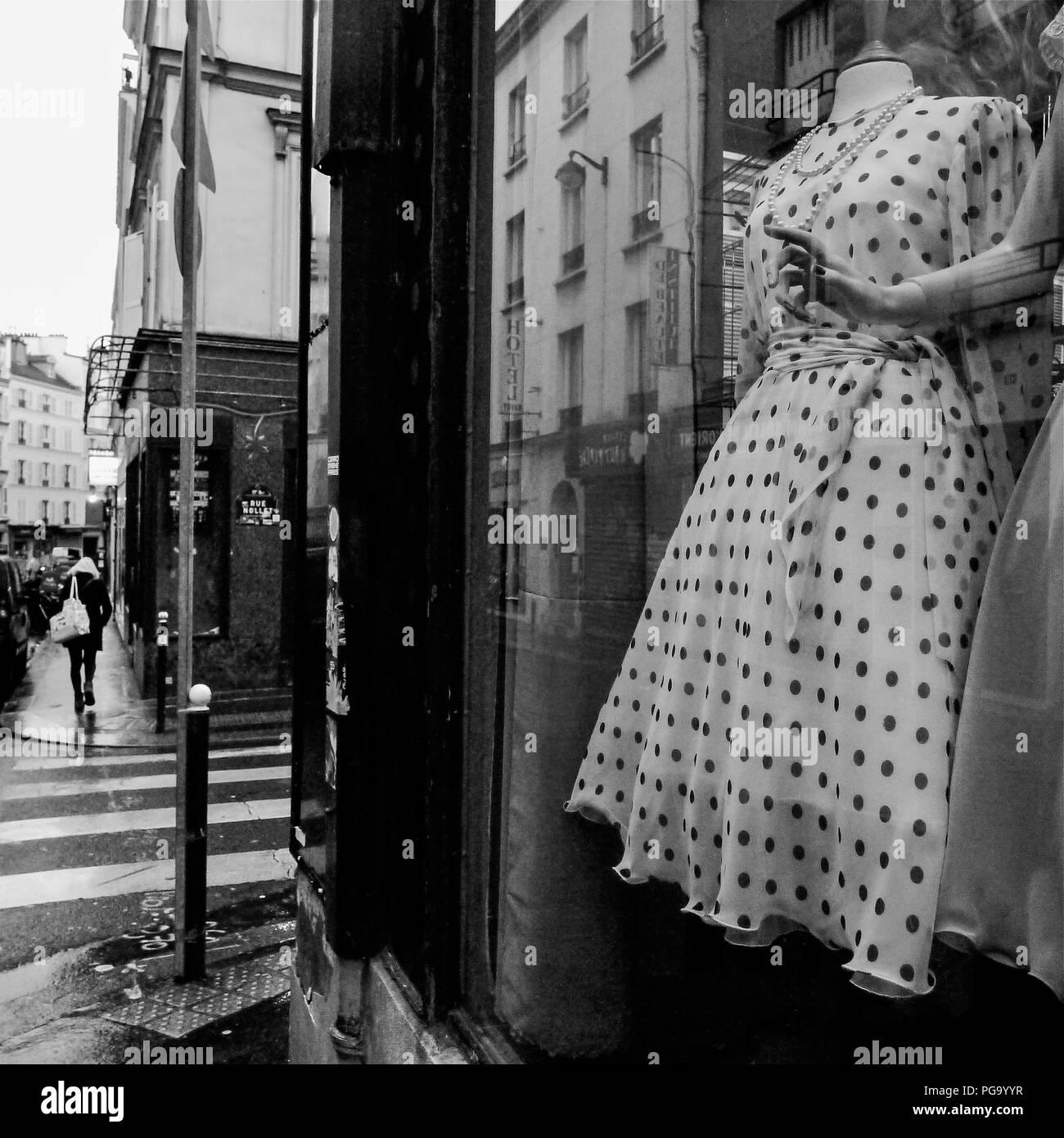 B&W square view of Paris streets in winter, Paris, Ile-de-France, France Stock Photo