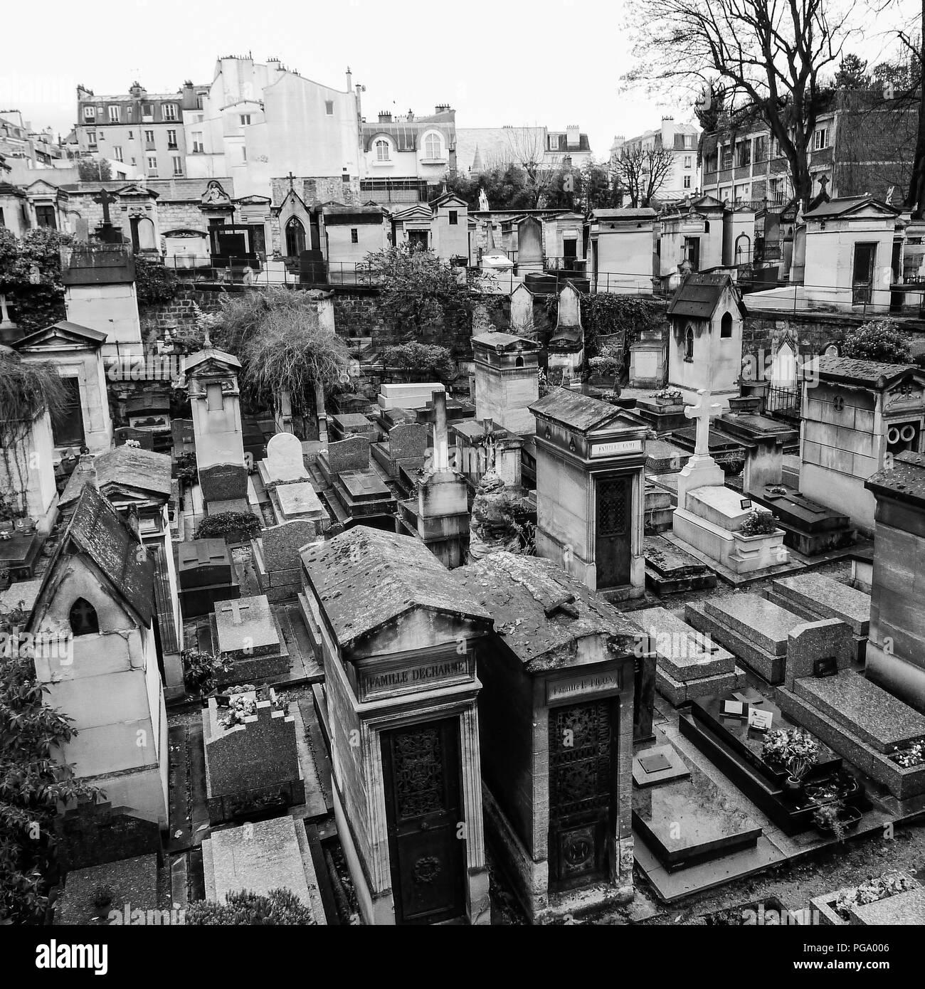 B&W square view of Paris streets in winter,  Montmartre cemetery, Paris, Ile-de-France, France Stock Photo
