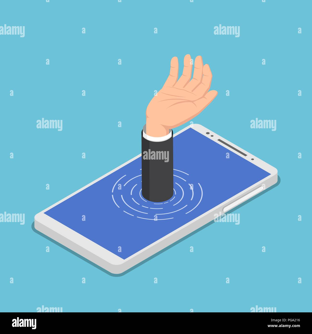Flat 3d isometric businessman hand get drowned in smartphone. Smartphone addiction concept. - Stock Image