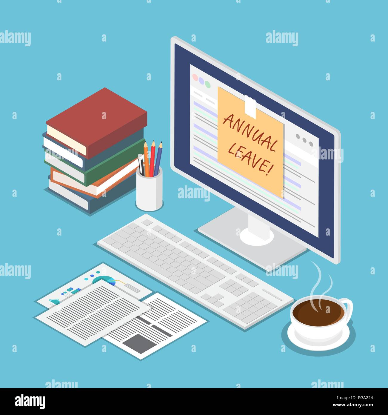 Flat 3d isometric sticky note with annual leave text on pc monitor. Holiday and vacation concept. - Stock Vector